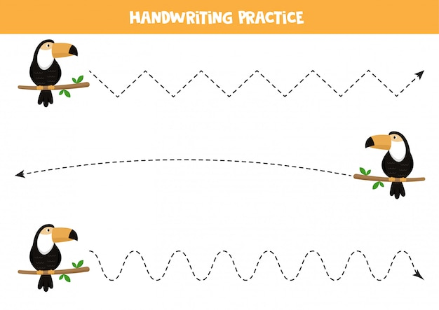 Traçar as linhas com tucano bonito dos desenhos animados.