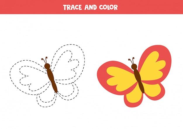 Traçar e colorir a borboleta dos desenhos animados. página educacional para colorir. prática de caligrafia para crianças em idade pré-escolar.