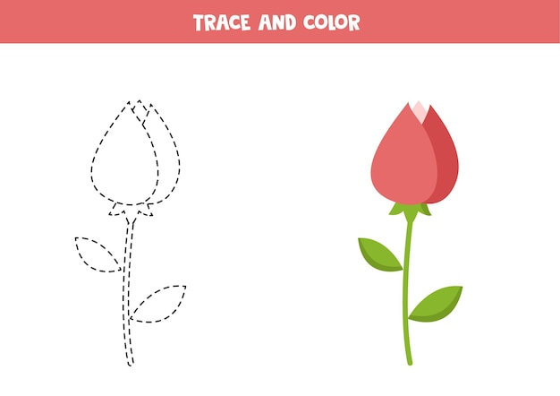 Traçar e colorir a flor rosa dos namorados