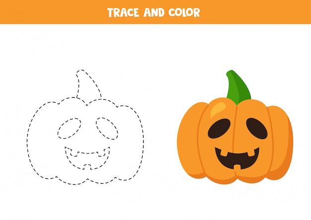 Traçar e colorir abóboras de halloween dos desenhos animados. prática de caligrafia.