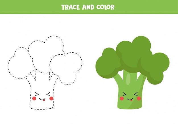 Traçar e colorir brócolis kawaii bonito. prática de caligrafia.