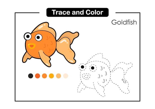 Traçar e colorir jogo educativo de luva de cozimento para crianças goldfish