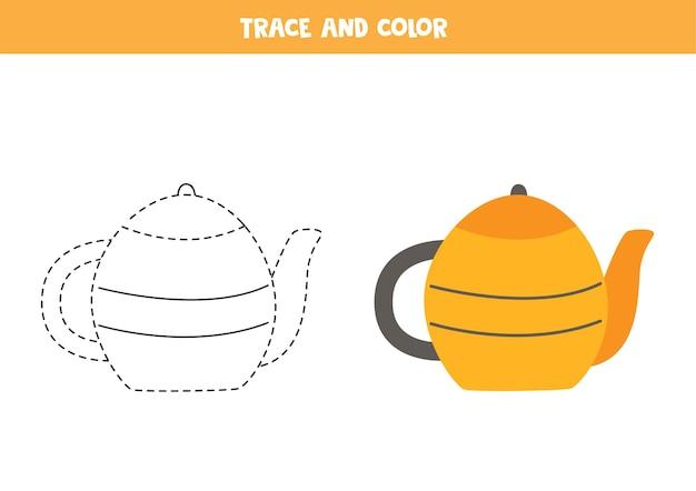 Traçar e colorir o bule de chá dos desenhos animados. jogo educativo para crianças. prática de escrita e coloração.