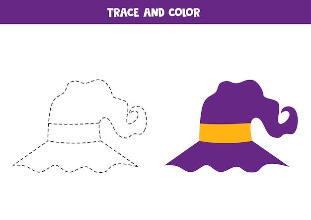 Traçar e colorir o chapéu de halloween. planilha para crianças.