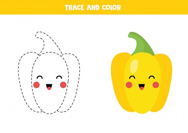Traçar e colorir o pimentão amarelo kawaii fofo. prática de caligrafia.