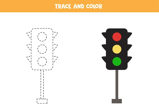 Traçar e colorir os semáforos dos desenhos animados. jogo educativo para crianças. prática de escrita e coloração.
