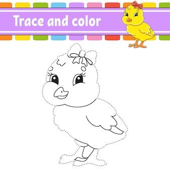 Traçar e colorir página para colorir para crianças tema de páscoa