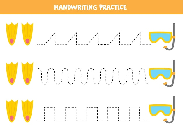 Traçar linhas com máscara subaquática de desenho animado e nadadeiras. prática da escrita.