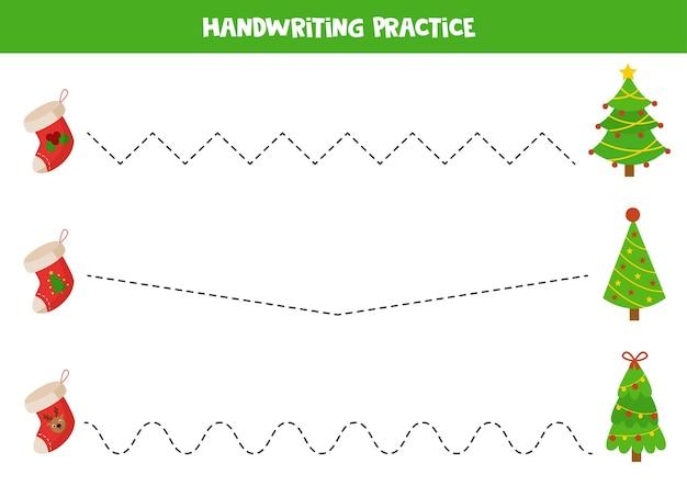 Traçar linhas com meias e árvores de natal dos desenhos animados. prática de caligrafia.