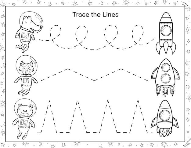 Traçar linhas de animais astronautas até foguetes página de atividades para colorir para crianças escrita à mão