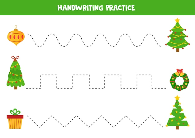 Traçar linhas entre as árvores de natal e a caixa de grinalda e prática de escrita à mão em bola