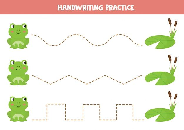 Traçar linhas entre sapo e lírio d'água. prática de caligrafia para crianças.