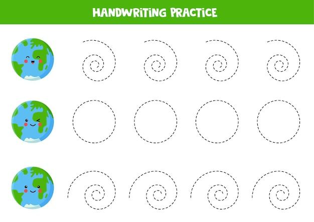 Traçar linhas para crianças com a prática de caligrafia kawaii earth para crianças