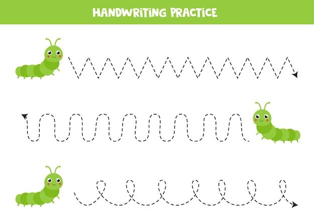 Traçar linhas para crianças com lindas lagartas. prática de caligrafia para crianças.