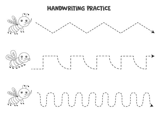 Traçar linhas para crianças com mosquito preto e branco bonito e voar. prática de caligrafia para crianças.