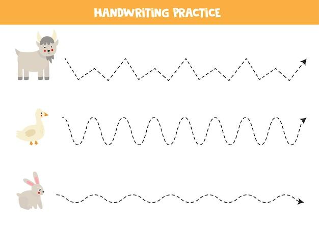 Traçar linhas para crianças com prática de escrita à mão de cabra fofa para crianças