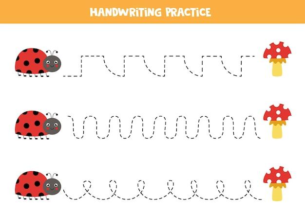 Traçar linhas para crianças com uma linda joaninha e cogumelos. prática de caligrafia para crianças.