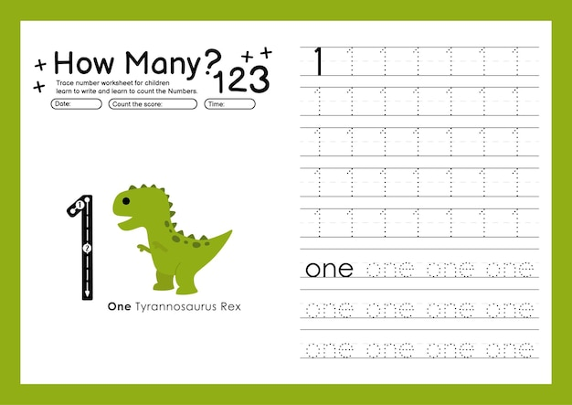 Traçar números escrevendo planilhas práticas e números de aprendizagem para a pré-escola número um 1