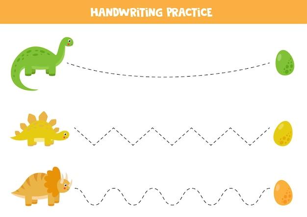 Trace a página de atividades de linhas com dinossauros e ovos fofos. prática de caligrafia para crianças.