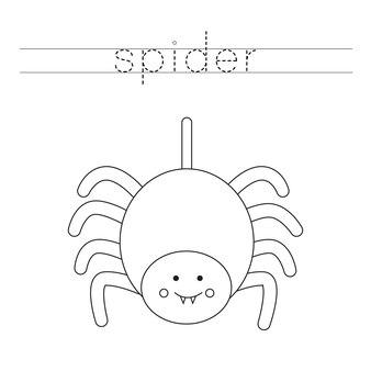 Trace as letras e a cor da aranha. prática de caligrafia para crianças.