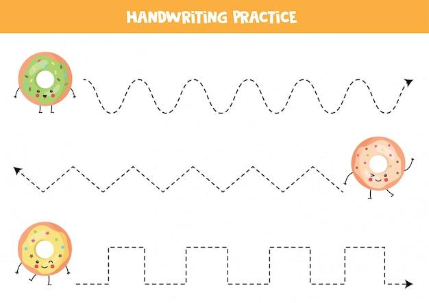Trace as linhas com donuts fofos kawaii.