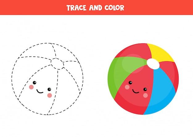 Trace as linhas da bola de brinquedo kawaii fofo.