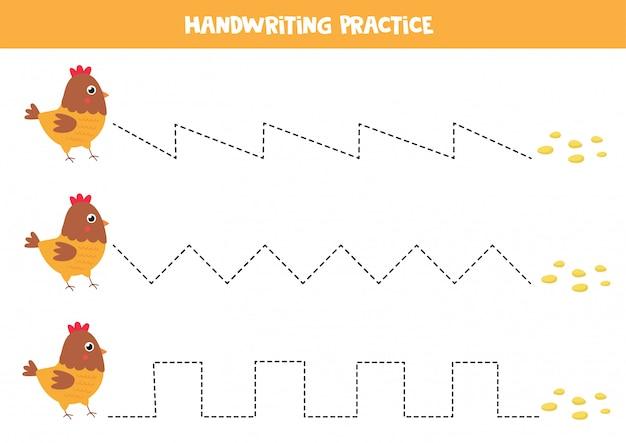 Trace as linhas entre galinha dos desenhos animados e sementes.