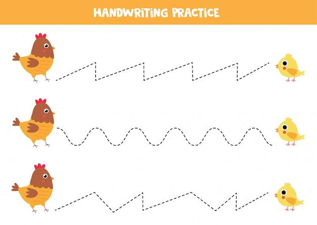 Trace as linhas entre galinha e galinha dos desenhos animados.