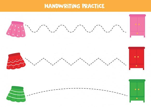 Trace as linhas entre saias e guarda-roupas. jogo educativo para crianças.