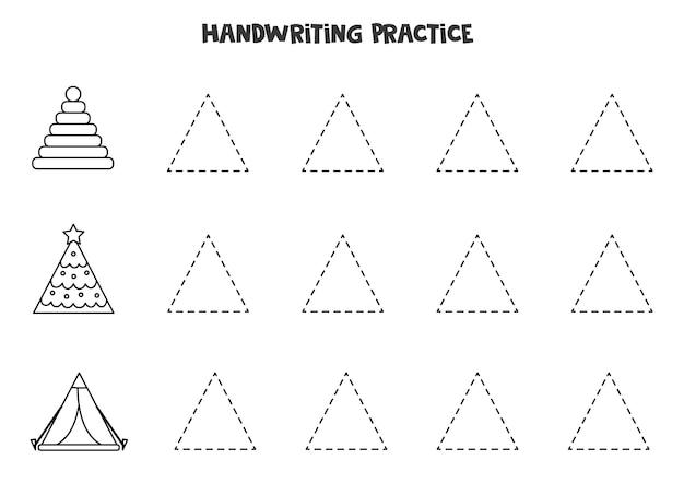 Trace contornos de objetos triangulares em preto e branco. prática da escrita.