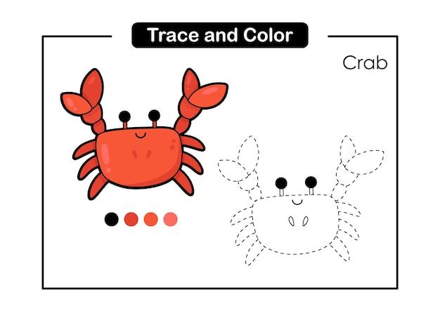 Trace e jogo de cores para crianças com caranguejo bonito da vida animal do mar