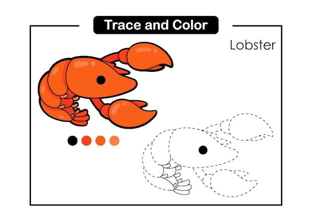 Trace e jogo de cores para crianças com lagosta fofa vida animal do mar