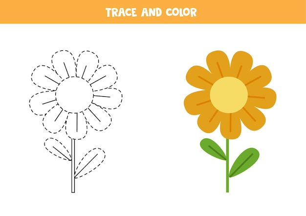 Trace e pinte a flor bonita. jogo educativo para crianças. prática de escrita e coloração.