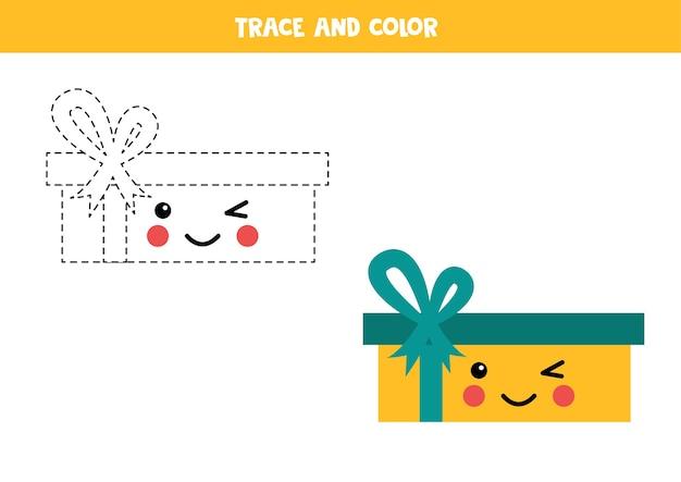 Trace e pinte uma linda caixa de presentes kawaii. prática de caligrafia para crianças.