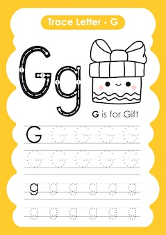 Trace letter alphabet g exercise with cartoon vocabulary illustration