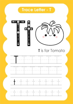 Trace letter alphabet t exercise with cartoon vocabulary illustration