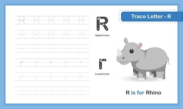 Trace letter-g: az animal, letra minúscula, livro prático de escrita à mão