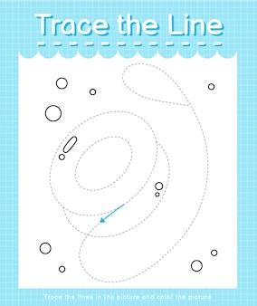 Trace o traço da linha seguindo as linhas tracejadas e pinte a imagem yoyo