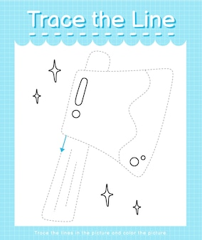 Trace o traço da linha seguindo as linhas tracejadas e pinte o machado da imagem