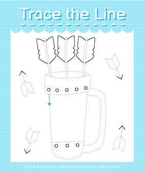 Trace o traço da linha seguindo as linhas tracejadas e pinte o tremor da imagem