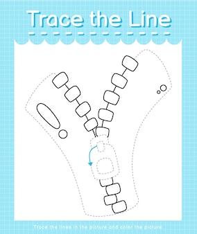 Trace o traço da linha seguindo as linhas tracejadas e pinte o zip da imagem
