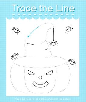 Trace o traço de linha seguindo as linhas tracejadas e pinte a imagem abóbora de halloween