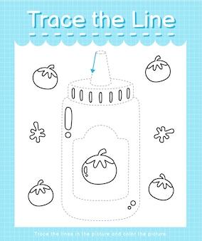 Trace o traço de linha seguindo as linhas tracejadas e pinte o ketchup da imagem