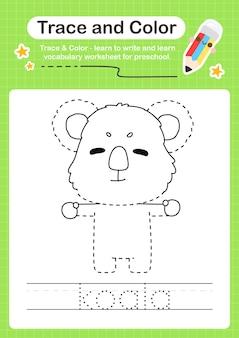 Traço de coala e traço de planilha pré-escolar em cores