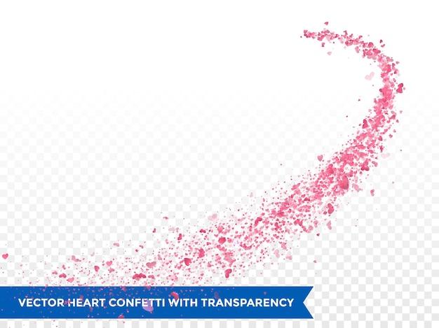 Traço de corações rosa em fundo transparente
