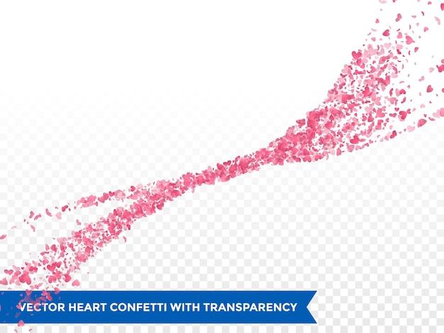 Traço de corações rosa ou vetor casamento amor cometa traço de confete fundo transparente