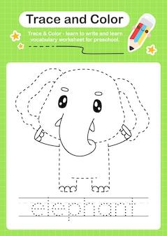 Traço de elefante e traço de planilha de cor pré-escolar