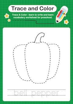 Traço de pimentão e planilha colorida da pré-escola para crianças praticarem a escrita