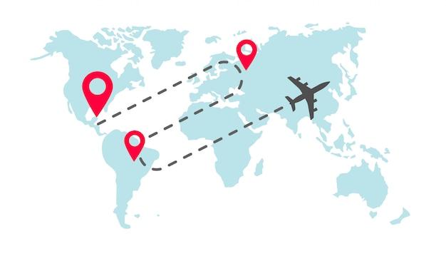 Traço de rota de voo de mapa mundial plano global com marcadores de ponteiro de pino de chegada Vetor Premium