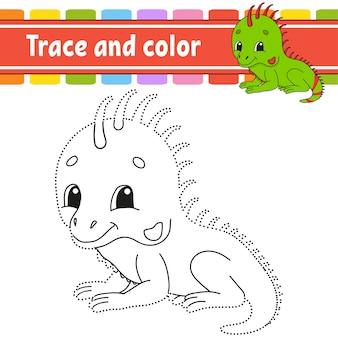 Traço e cor. página para colorir para crianças. prática de caligrafia.